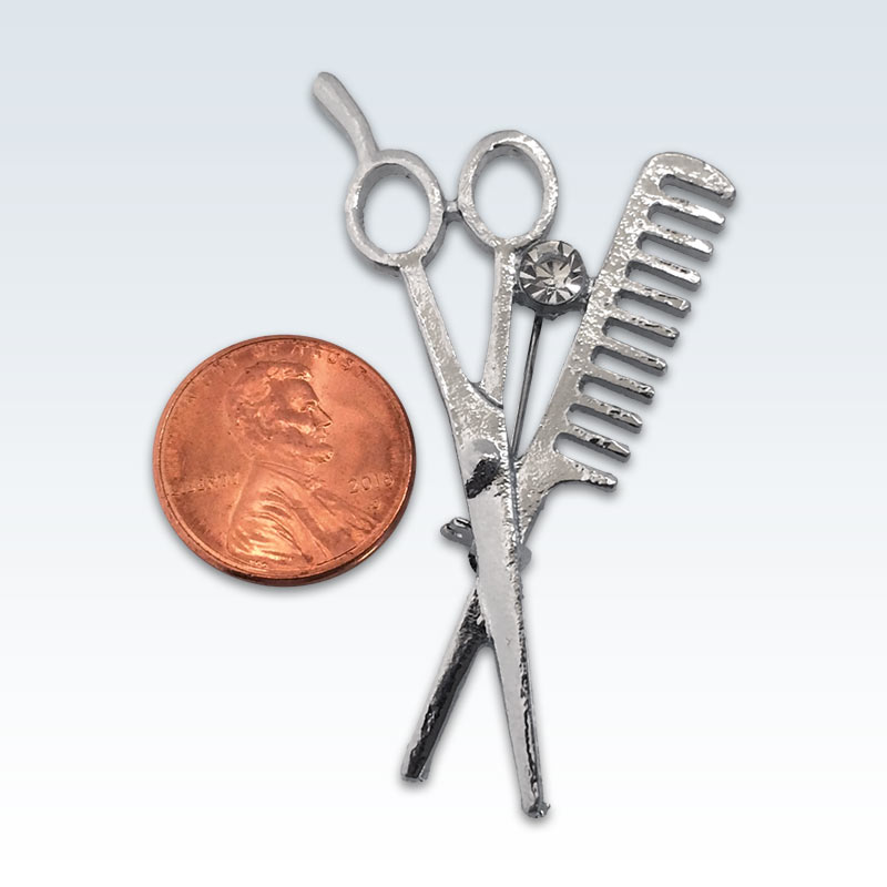 Silver Scissors Comb Lapel Pin Size