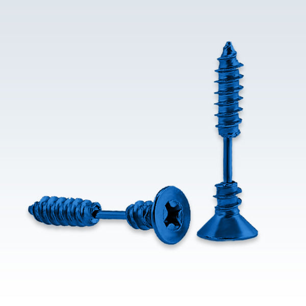 Blue Stainless Steel Screw Earring Studs