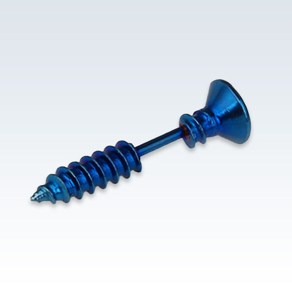 Blue Stainless Steel Screw Earring Stud