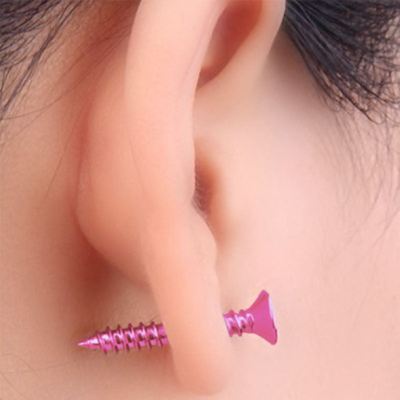 Wearing Pink Stainless Steel Screw Earring Stud