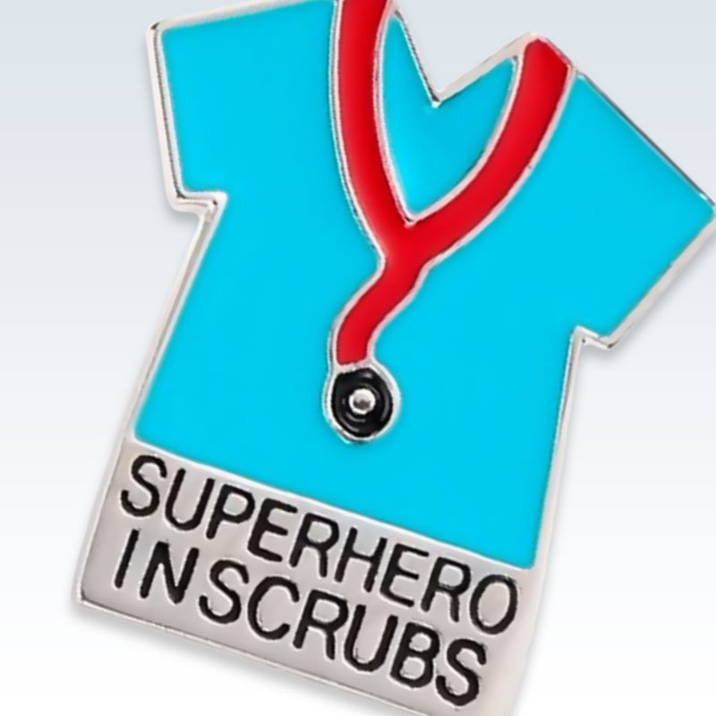 Superhero in Scrubs Silver Lapel Pin Detail