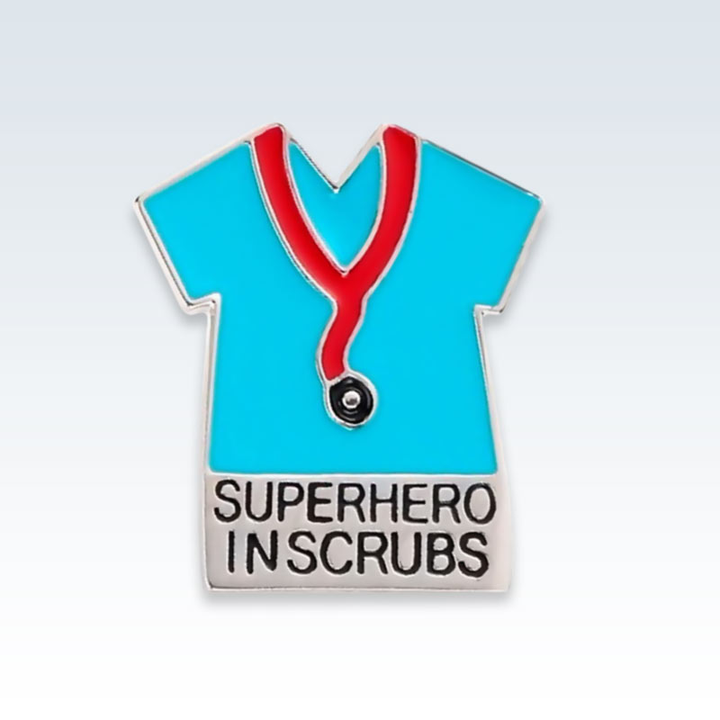 Superhero in Scrubs Lapel Pin Blue