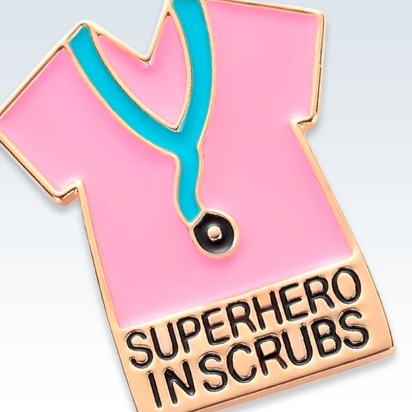 Superhero in Scrubs Gold Lapel Pin Detail