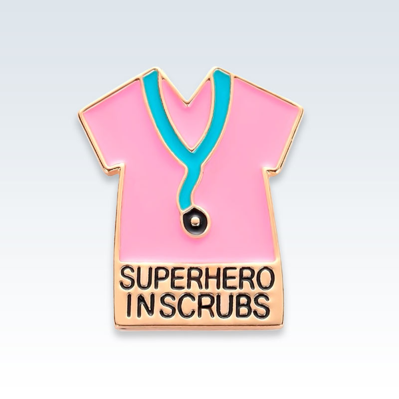 Superhero in Scrubs Gold Lapel Pin