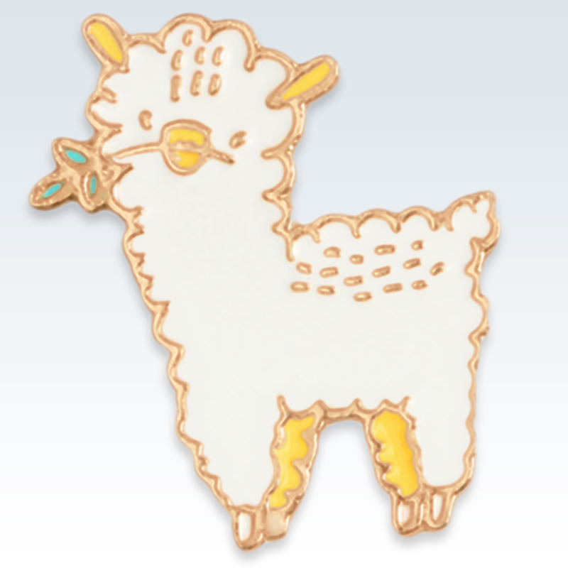 Gold and White Sheep Lapel Pin Detail