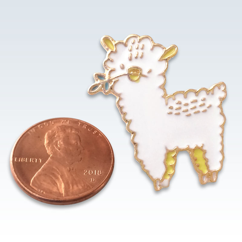 Gold and White Sheep Lapel Pin Size