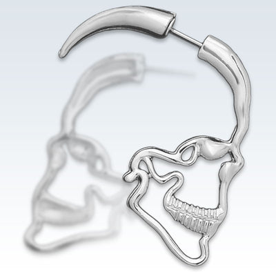 Anatomical Skull Profile Earring Detail