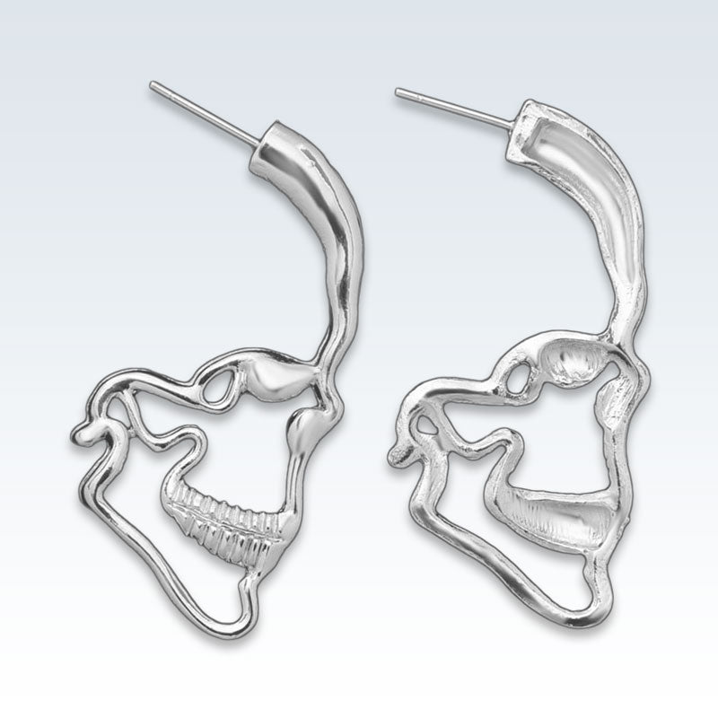 Anatomical Skull Profile Earring Front and Back