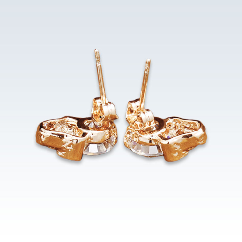 Gold Skull CZ Earring Studs Posts