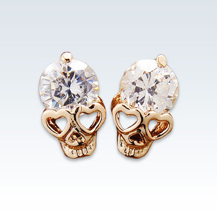 Anatomical Skull Zircon Earring Studs