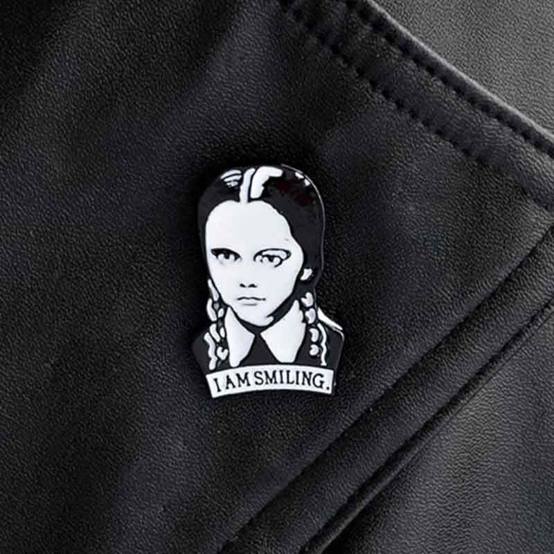 Wearing I Am Smiling White Enamel Lapel Pin
