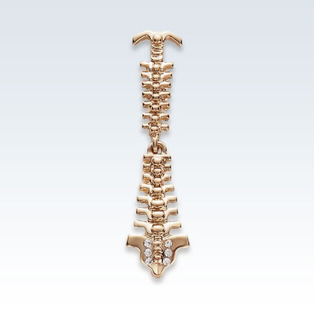 Anatomical Spine Gold Lapel Pin