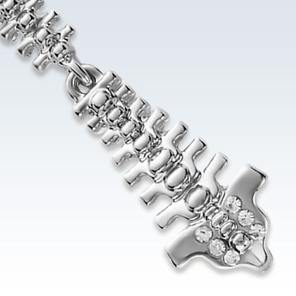 Silver Spine Lapel Pin Detail