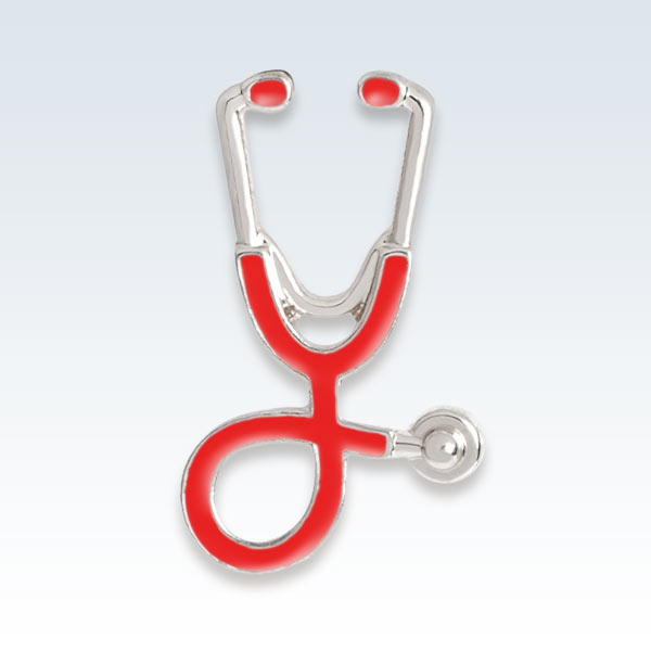 Stethoscope Lapel Pin Red Silver