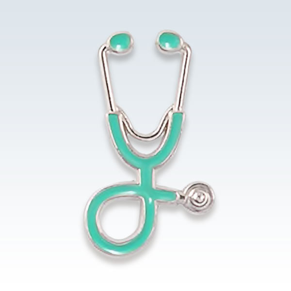 Stethoscope Lapel Pin Teal Silver