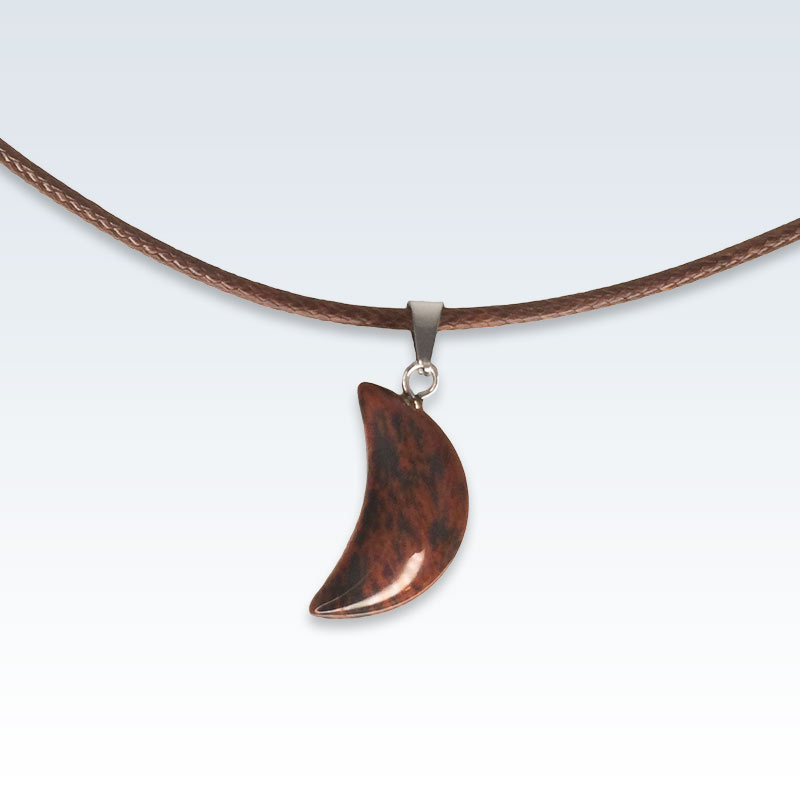 Red Stone Crescent Necklace