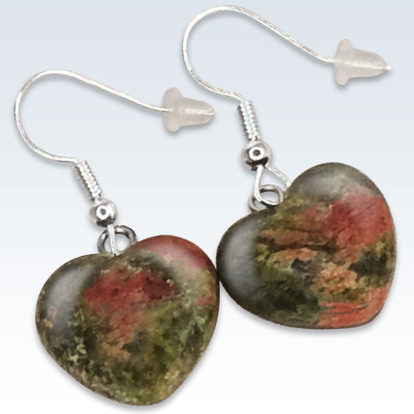 Green Stone Heart Earrings Detail