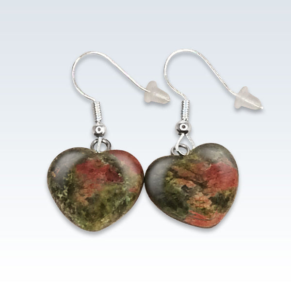 Green Stone Heart Earrings
