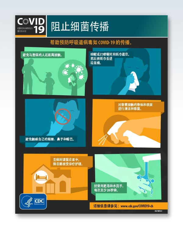 Stop Spread of Germs Chinese Factsheet