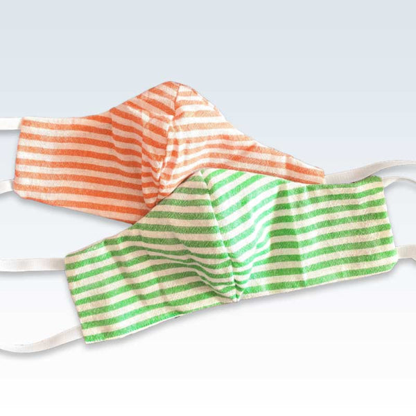 Bold Green Orange Stripe Large Mask