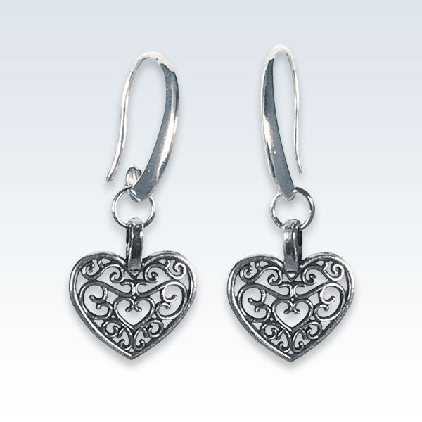Antique Metal Hollow Heart Earrings