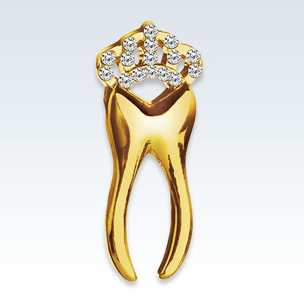 Anatomical Crowned Tooth Gold Lapel Pin
