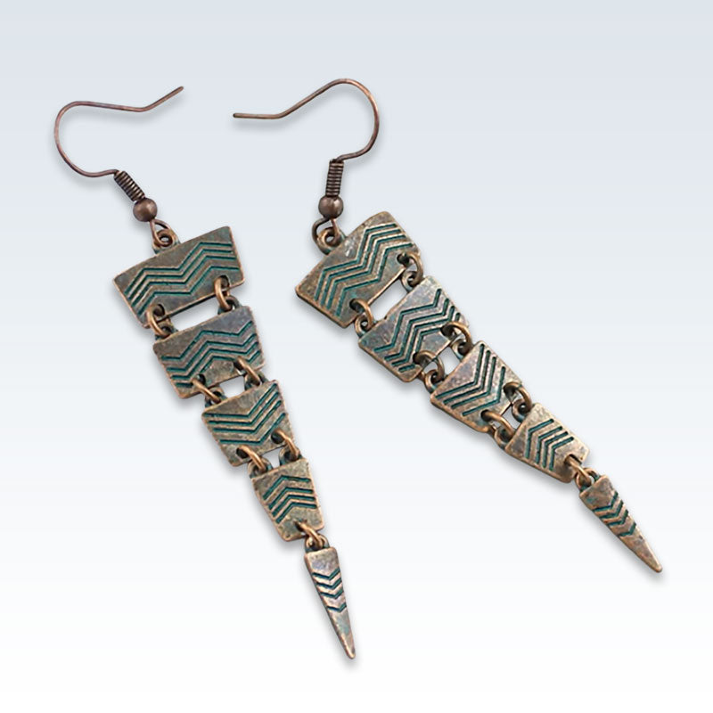Ethnic Bronze Triangle Earrings