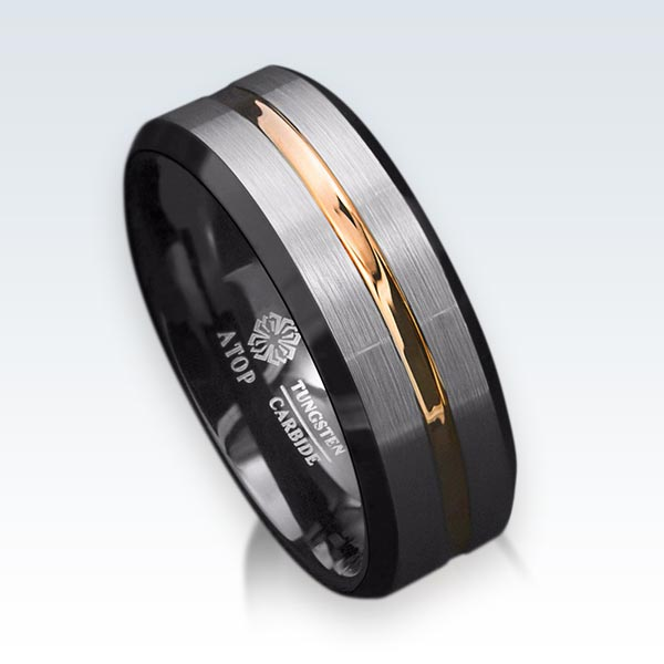 Tungsten Black Ring Mens Band