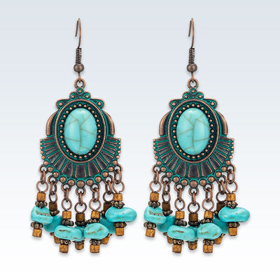 Bohemian Turquoise Bronze Earrings