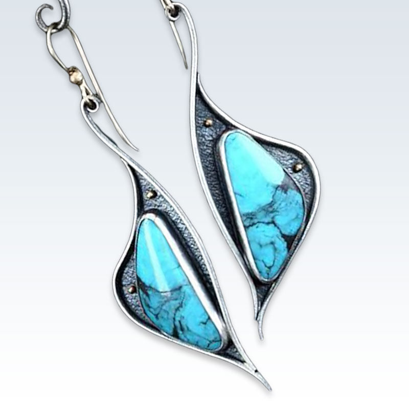 Turquoise Hook Earrings Detail