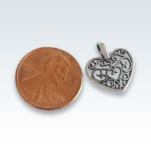 Antique Metal Hollow Heart Charm Size