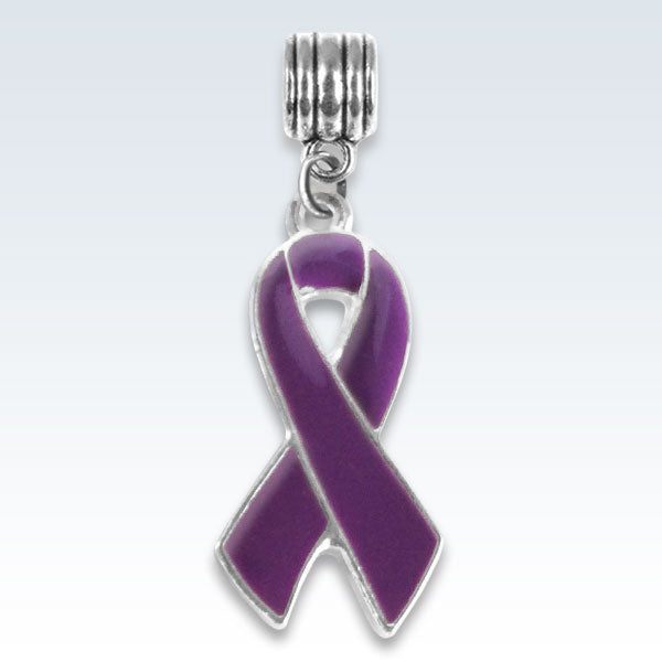 Awareness Ribbon Violet Metal Charm