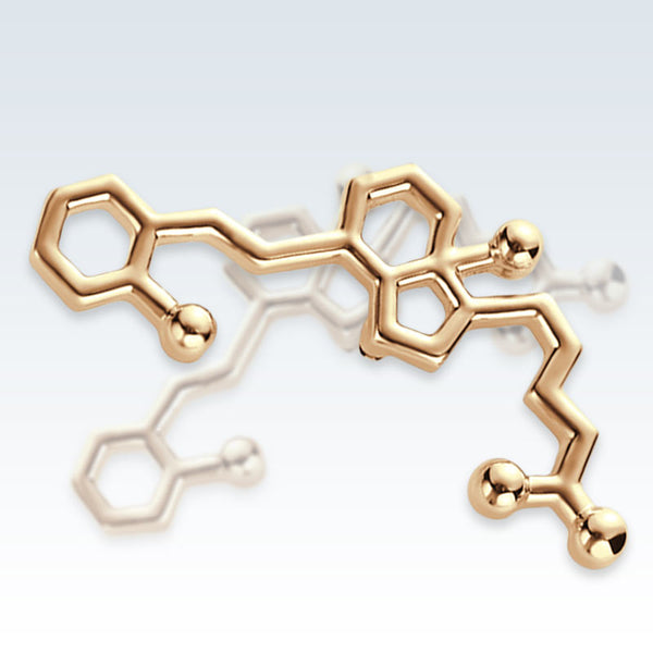 Vitamin D Molecule Gold Lapel Pin Detail
