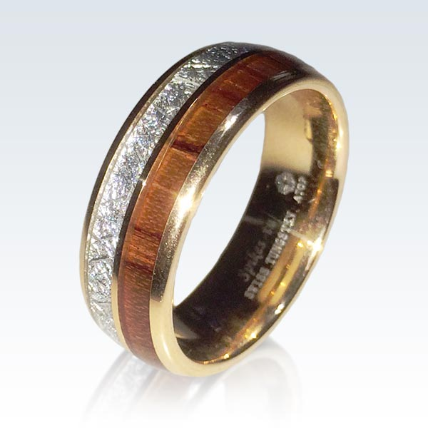 Gold Plated Wood Tone Ring