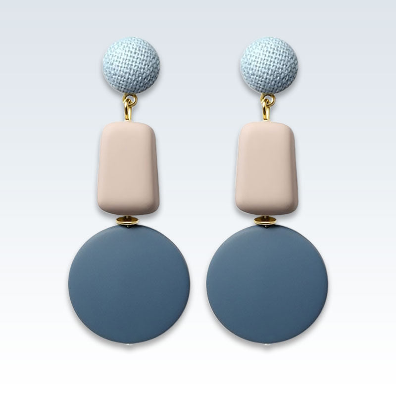 Geometric Blue Beige Wood Earrings