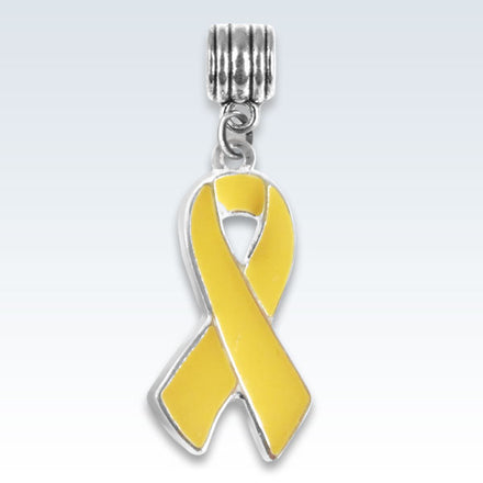 Awareness Ribbon Yellow Metal Charm