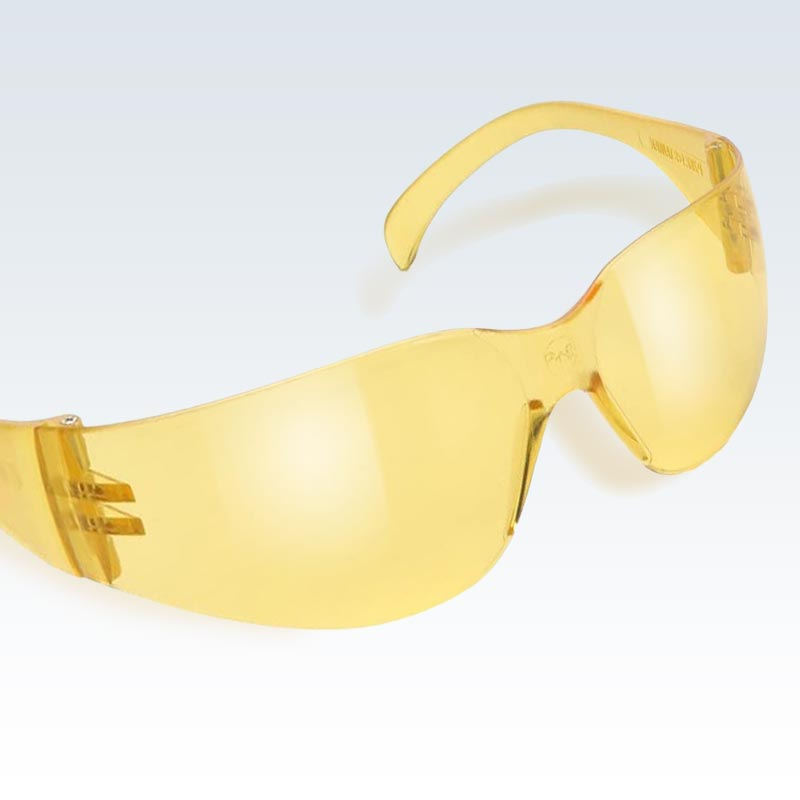Yellow Anti-Scratch Safety Glasses Detail