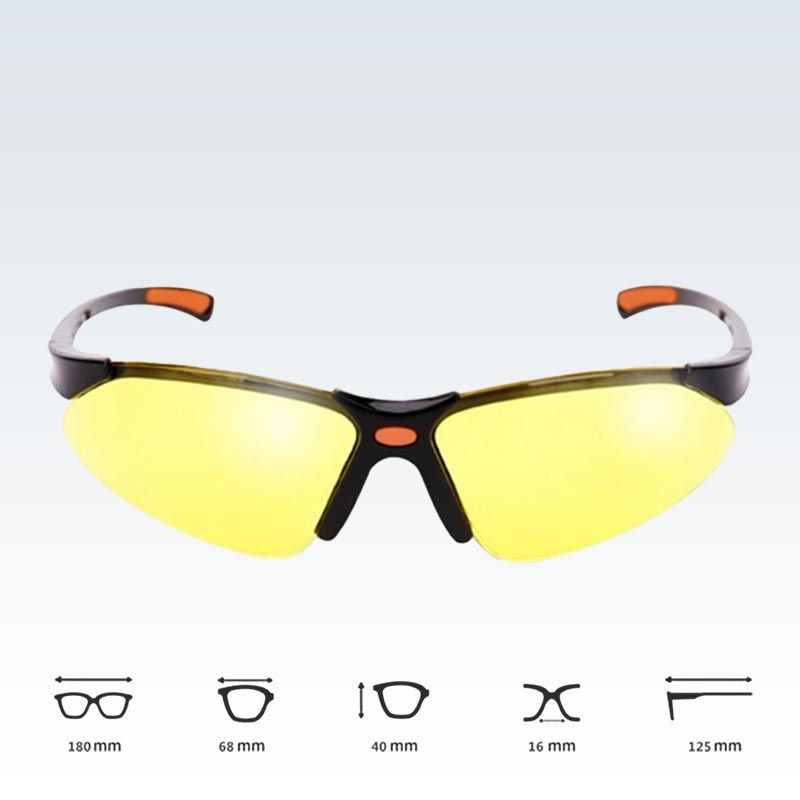 Yellow Safety Glasses Dimensions