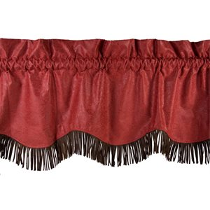 Cheyenne Red Faux Tooled Leather Valance