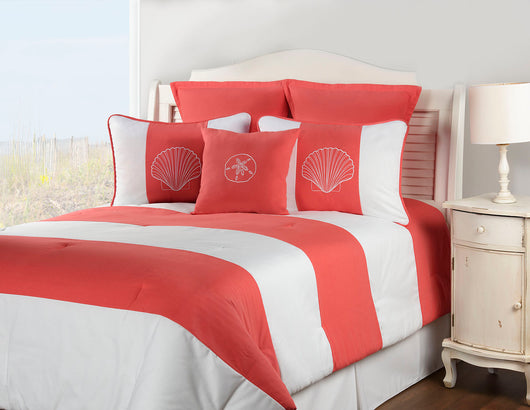 Shell Island Coral Shower Curtain