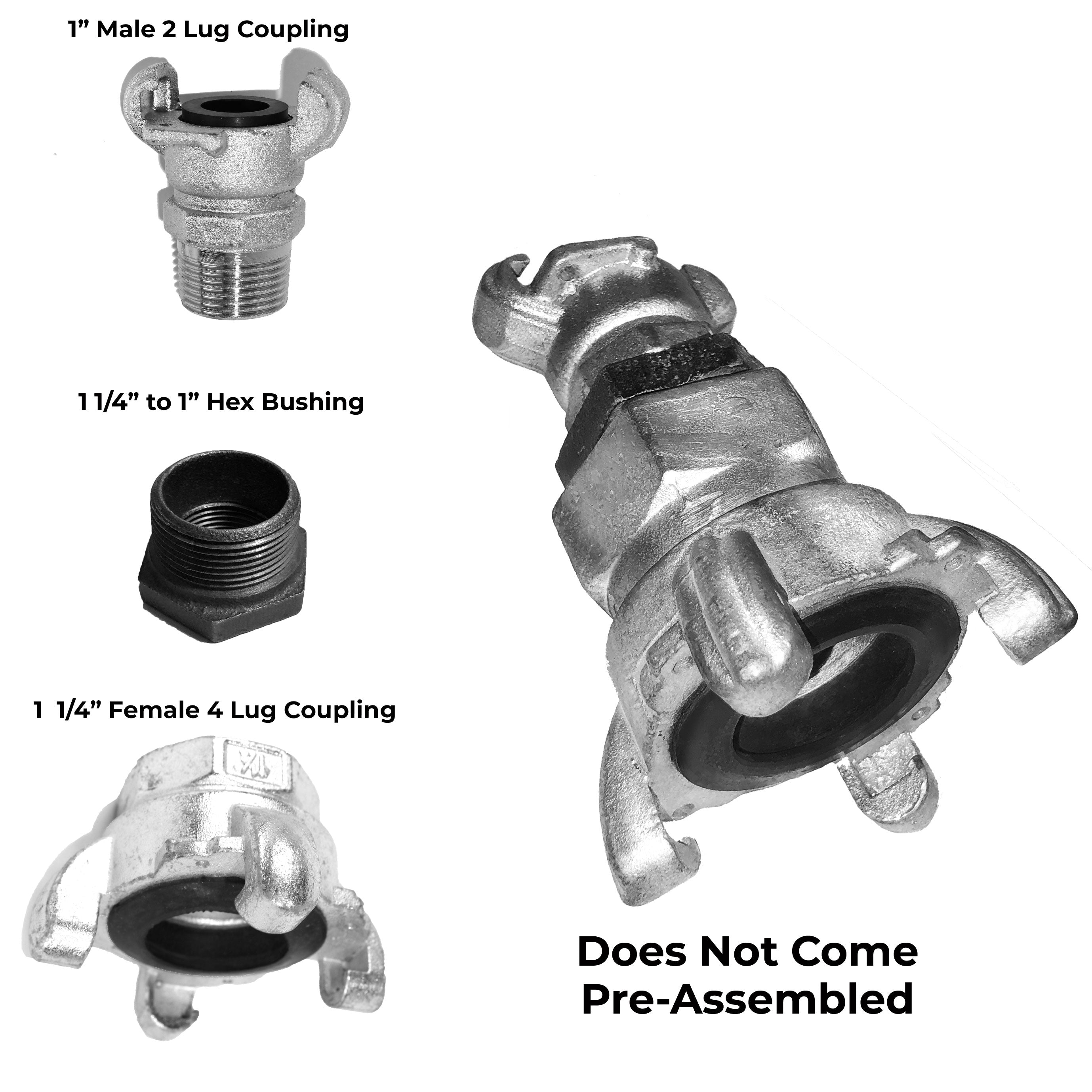 "1"" Male, 2-Lug to 1-1/4"" Female, 4-Lug Adapter Coupling Kit - LUGADPT/Kit"