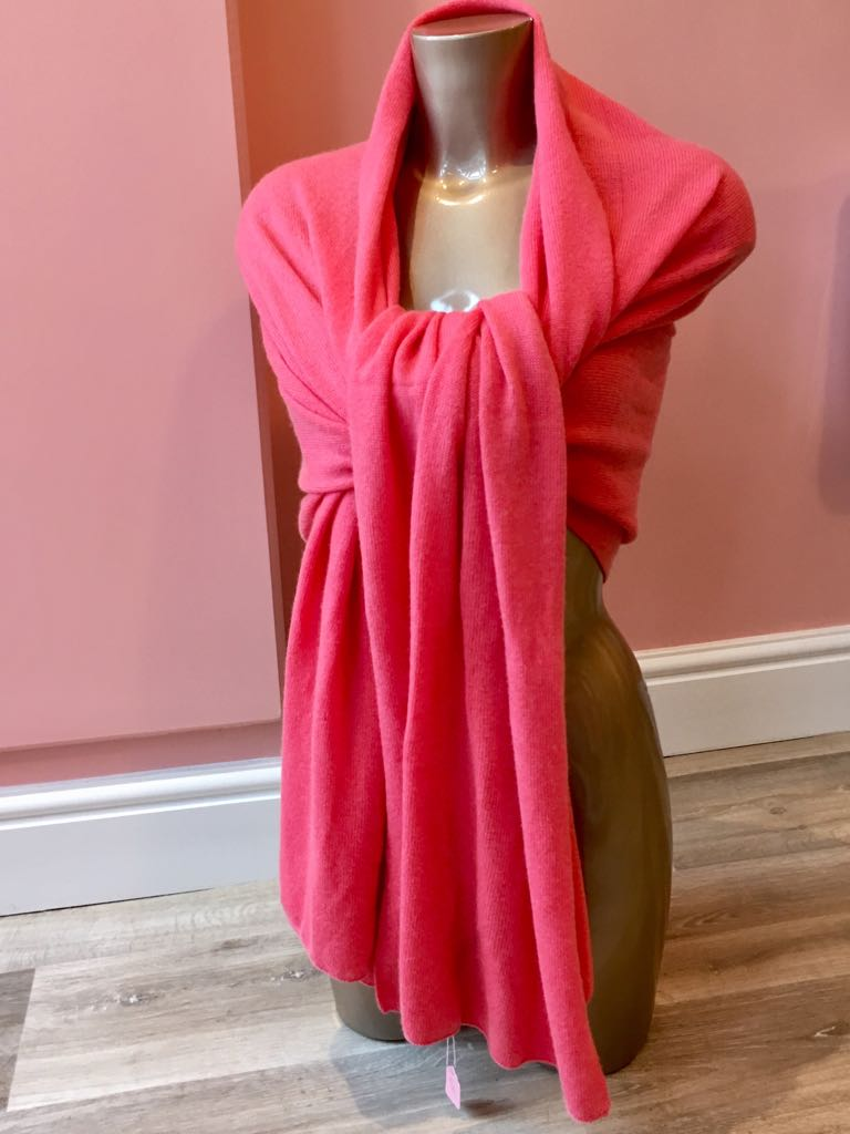 100% Cashmere Large Shawl Scarf Plain Knit - Coral