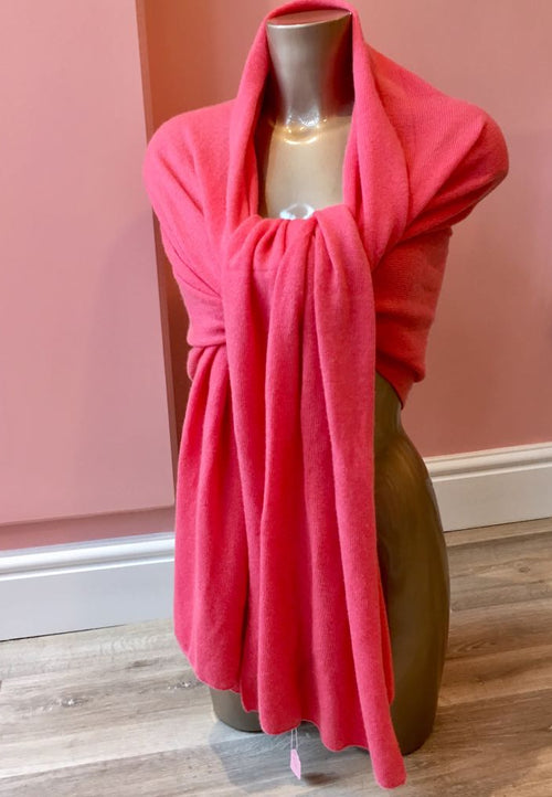 Large 100% Cashmere Shawl Coral