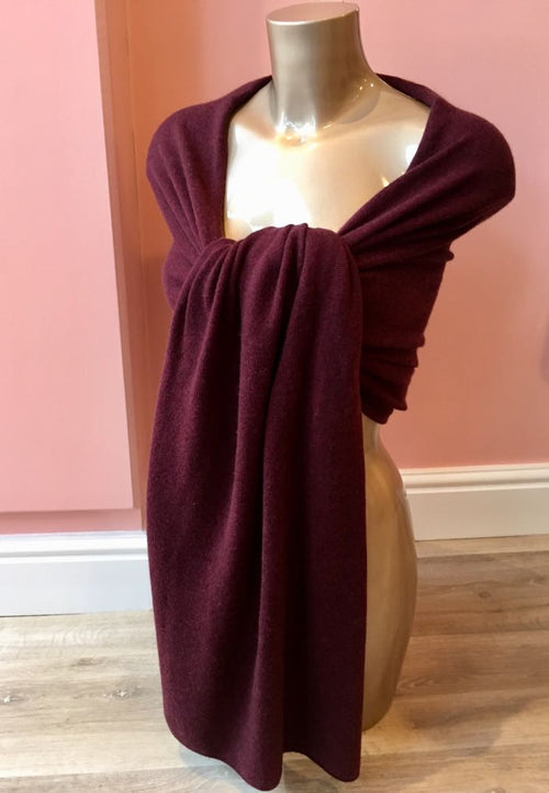 Large 100% Cashmere Shawl Burgundy