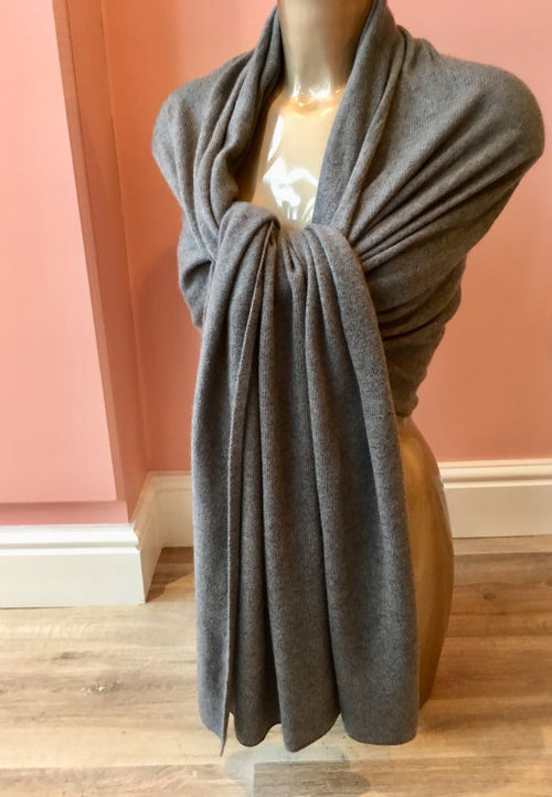 Large 100% Cashmere Shawl Dark Grey