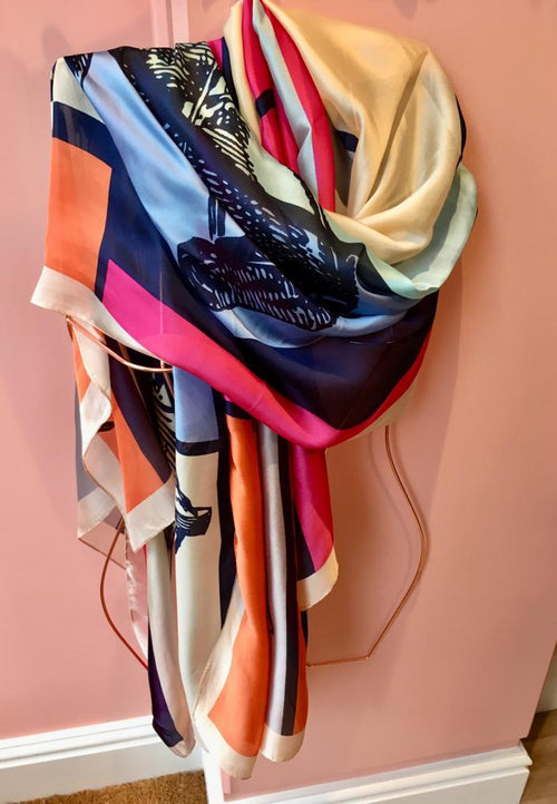 100% Silk Scarf - Pony Club Multi