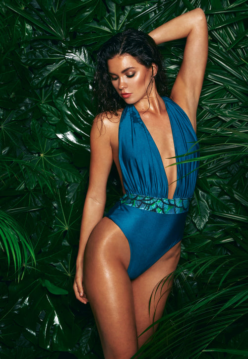 Afina London Adele Deep Plunge Swimsuit Green Front