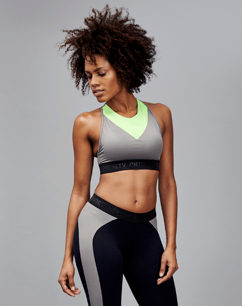 SixtyNinety Cara Sports Bra Front Green and Grey
