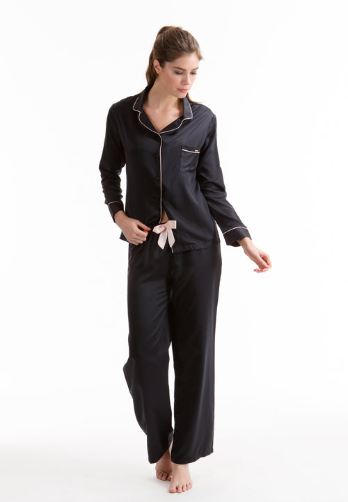 Bluebella Claudia Shirt and Trouser Black - Front