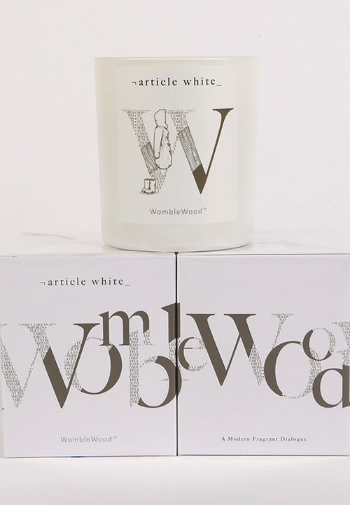 Article White Womble Wood Candle